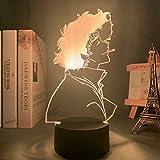 Lámpara 3d anime cowboy bebop spike mirror luz de noche LED para decoración de habitación de niños regalo de cumpleaños manga cowboy bebop lámpara spike mirror, 7 colores sin control remoto