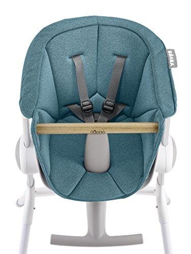 BÉABA, Coussin de Chaise Haute bébé, Compatible transat UP&DOWN, Ergonomique, Ultra Confortable, Pratique, Facile d'entretien, Bleu