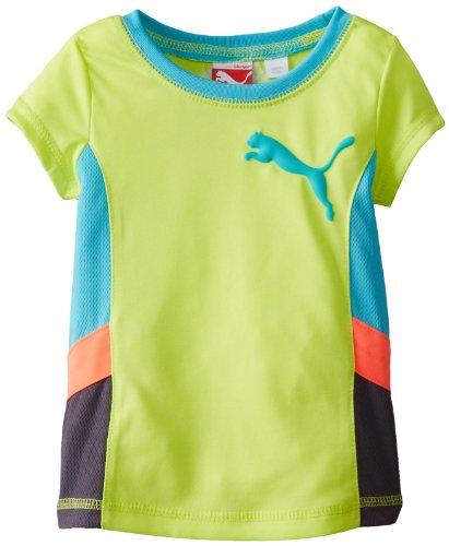 PUMA Little Girls' Short Sleeve Active Colorblock Tee, Lemon Tonic, 2 Tall