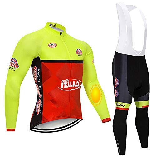 TOPBIKEB Tute da Ciclismo da Uomo a Maniche Lunghe, Maglia da Ciclismo in Pile Termico Invernale e Pantaloni con Bretelle per Il Team PRO