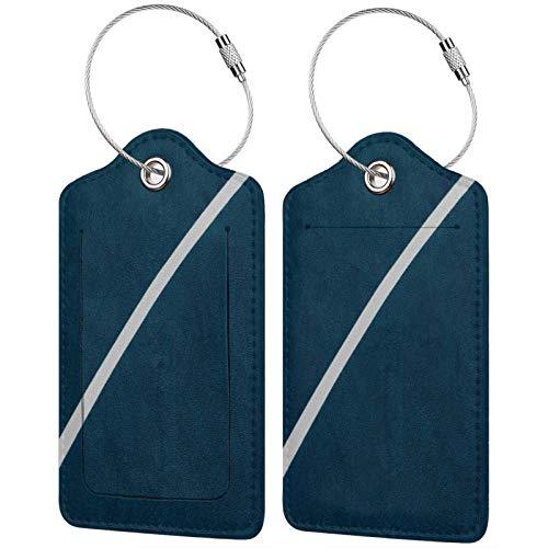 FULIYA Juego de 2 etiquetas de equipaje seguras de alta gama, etiquetas de equipaje, para tarjetas de visita o bolsa de identificación de viaje, parque infantil, marcado, líneas, cubierta, deporte