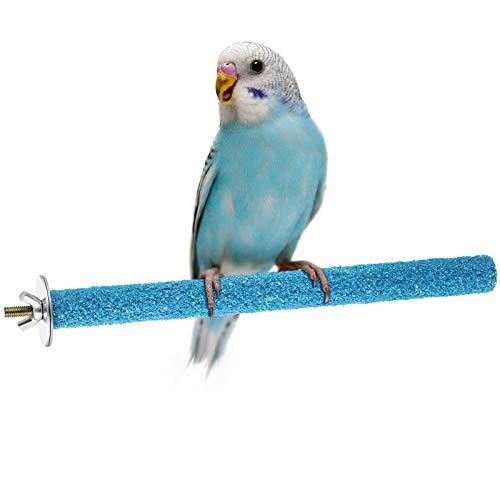 Perchas de Aves Soporte de Masticar de Periquito Soporte de Pájaro Perchas Interactivas de Jaulas de Pájaros para Periquito Loro Cockatiel para Entrenamiento en Jaula (Azul)
