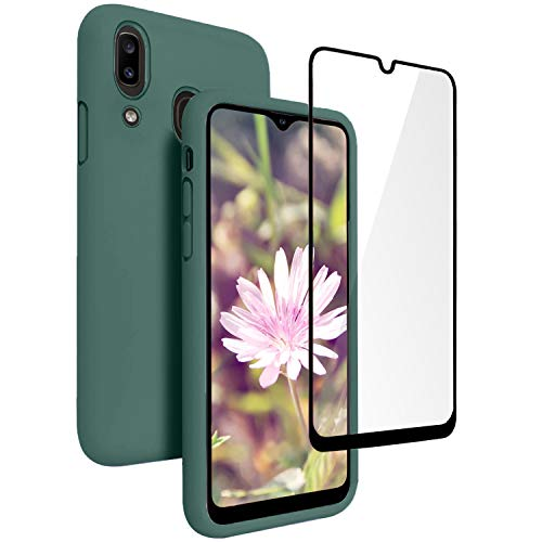 Vinve Samsung Galaxy A20 Case, Galaxy A30 Case, Liquid Silicone Slim Gel Rubber Full Body Protection Shockproof Cover Drop Protection Case for Galaxy A20 (Blackish Green)