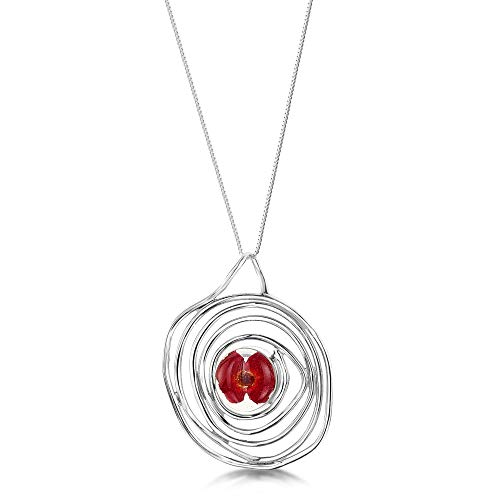 Shrieking Violet 925 Sterling Silver Spiral Real Flower Pendant Necklace -- Poppy (Red)