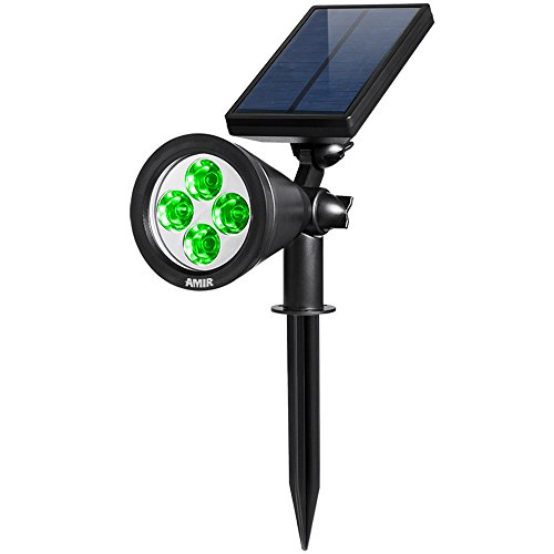 AMIR Solar Spotlights Outdoor Upgraded, Waterproof 4 LED Solar Security Landscape Lights, Adjustable Solar Garden Light with Auto On/ Off for Yard Driveway Pathway Pool Patio (Green)