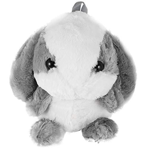 Haude Plush Rabbit Long Ear Bunny Bag Plush Doll Plush Toys Children Backpack for Girls Kids,Gray and White