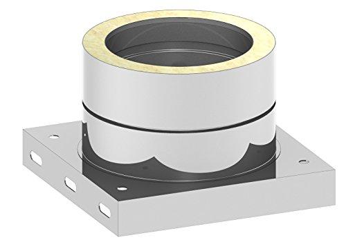 """Schornstein - Grundplatte DW doppelwandig mit 1/2"""" Außennippel, Verschlusskappe und Kondensatablauf unten; Innen/Außen je 0,5 mm Wandstärke; Ø 150mm Innendurchmesser, Edelstahl"""