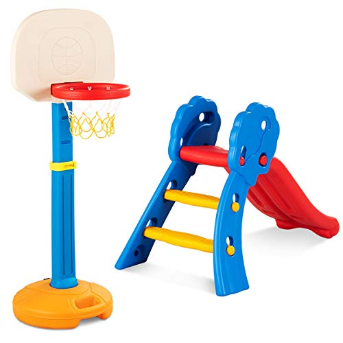 Baby Joy Folding Slide & Basketball Stand Set, Plastic Play Slide Climber, Basketball Hoop with Adjustable Height, Indoor Outdoor Portable for Toddler(Floral Rail + Basketball Stand)