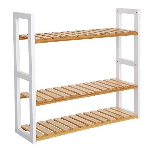 SONGMICS Bamboo Bathroom Shelves, 3-Tier Adjustable Layer Rack, Bathroom Towel Shelf, Utility Storage Shelf Rack, Wall Mounted Organizer Shelf (Natural + White) UBCB13WN