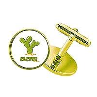 サボテン多肉植物の鉢植え植物の緑 スタッズビジネスシャツメタルカフリンクスゴールド