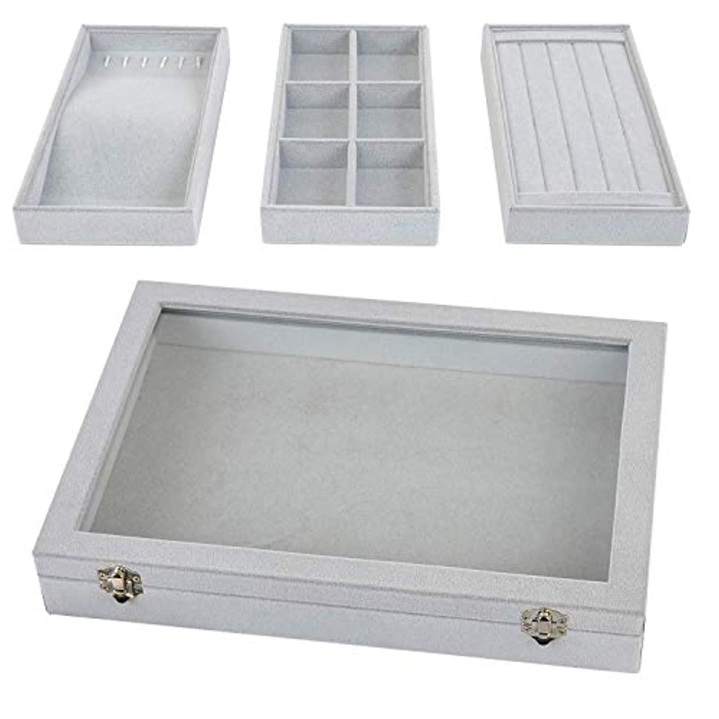 MILIJIA Stackable Jewelry Tray with Glass Lid, Drawer Insert Display Show Case, Dresser Organizer for Ring Stud, Necklace Holder Storage Box Chest, Light Grey