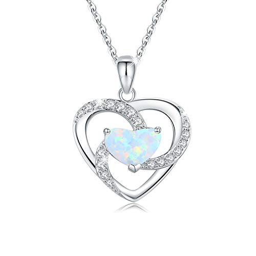 Opal Necklace Heart Necklace 925 Sterling Silver Opal Jewelry Opal Heart Necklace Opal Gifts for Women
