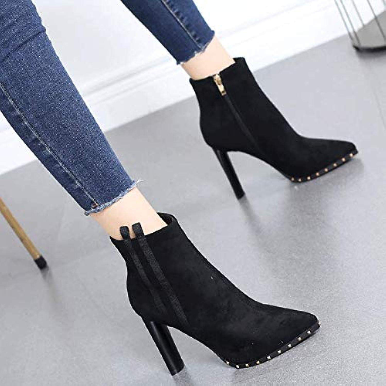HRCxue Pumps Martin Stiefel Dicke Ferse Schuhe Spitze Stiefel Frauen Striped Fashion high Heels nackte Stiefel
