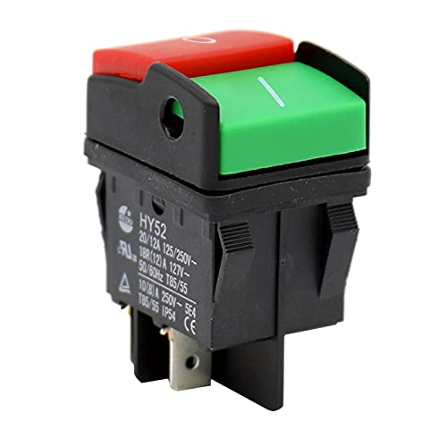 ALEOHALTER HY52 - Interruptor de botón de encendido (4 pines, interruptor de botón marino, interruptor de dispositivo mecánico para equipo, 125/250 V 20/12 A)