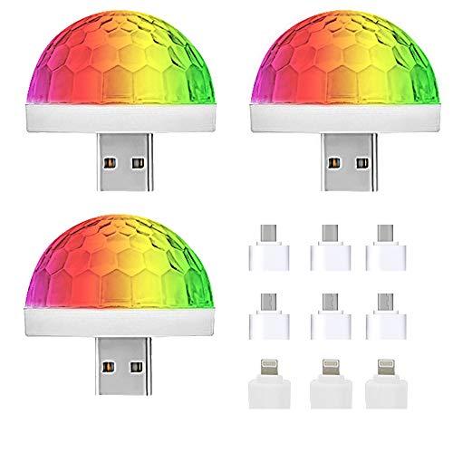 NEPAK 3 Pack LED-Discokugel, Mini-USB-Musik-LED-Party-Licht Bunte Lichteffekte Licht Bühnenbeleuchtung Kristall Magic Ball Mit drei Arten von Adaptern3 Pack LED-Discokugel