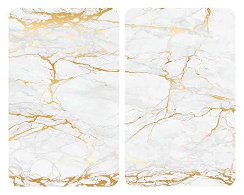 WENKO Herdabdeckplatte Universal Marmor Gold, 2er Set Herdabdeckung für alle Herdarten, Gehärtetes Glas, 30 x 52 cm, mehrfarbig