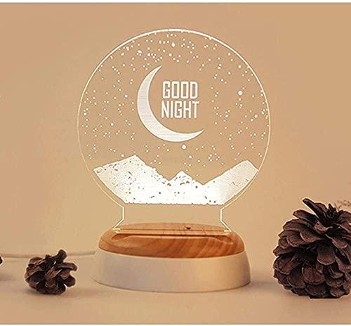 Lámpara Escritorio Lámpara de mesa LED de luna romántica, creativa y encantadora, luz de noche LED y lámpara de dise?o de luz de luna bellamente pintada y mesita de noche, decoraciones, regalos, regal