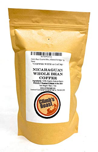Climb's Roast Gourmet Whole Roasted Coffee Beans, 1 Pound, Nicaragua