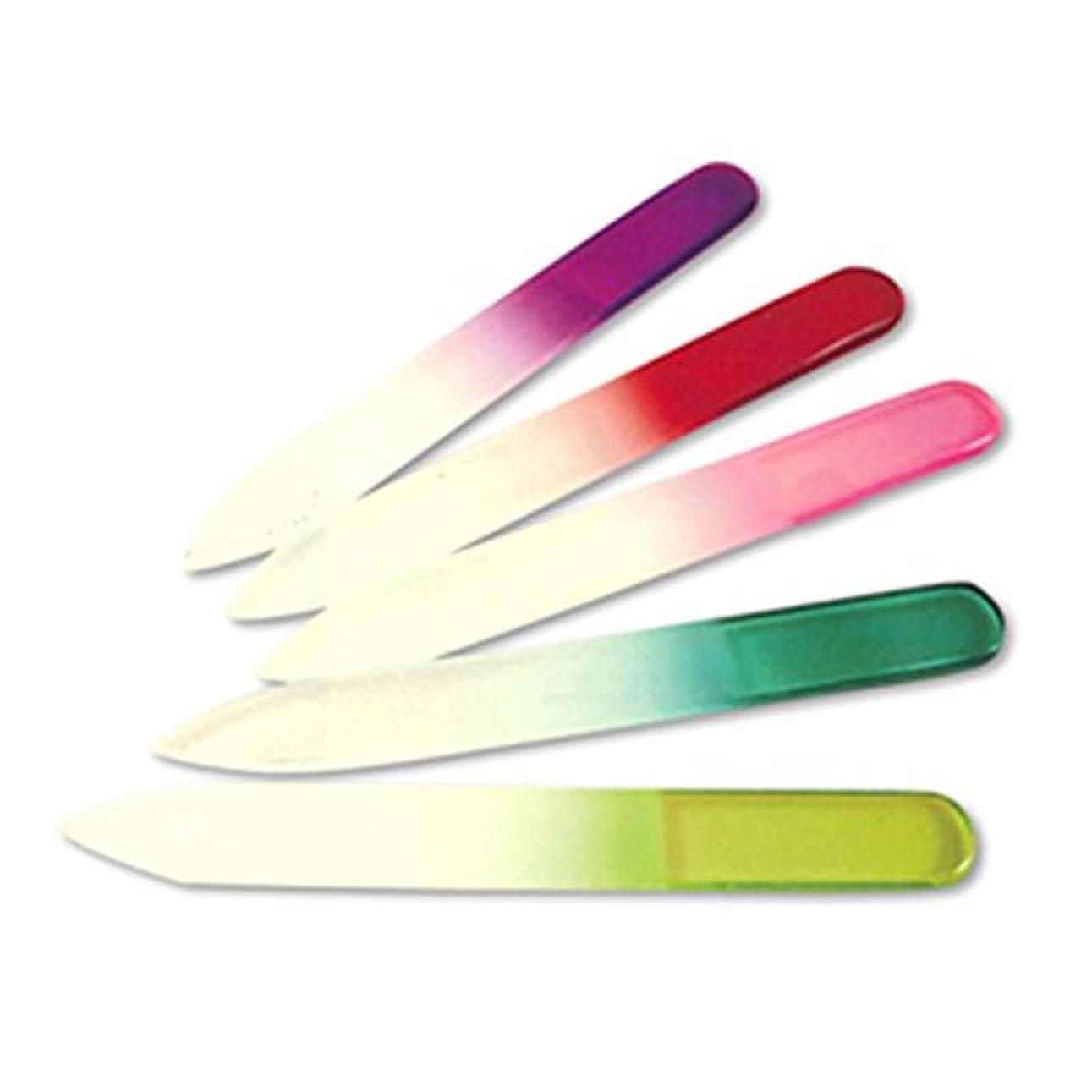 符号廃止する危険にさらされている【爪やすり】グラスネイルファイル(Glass Nail File) ソフトケース付き 5色フルセット