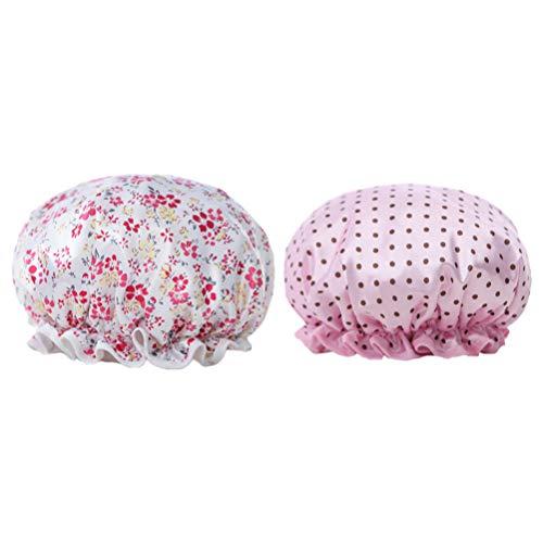 EXCEART 2 Pcs Fleur Bonnet De Douche Étanche Chapeau De Bain Réutilisable Spa Cap Double Couche EVA pour Les Femmes Hommes Maison De Bain Spa Casquettes (Floral Dot Pattern)
