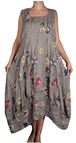 Damen Pure Leinen Sommer zipfel Kleid Maxikleid Tunika 44 46 48 50 L XL XXL Beige Blumen assymetrisch Strand Urlaub Lagenlook (44)