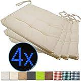 nxtbuy Stuhlkissen 4er Set 40x40 cm Ecru - Gepolstertes Sitzkissen mit Bändern, für Indoor und...