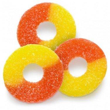 FirstChoiceCandy Gummy Peach Rings Orange & Yellow Fresh Sanded Gummi Candy 2 LB