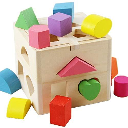 N / A Holz Frühe Kindheit Lernhilfe 13 Loch Intelligenz Box Kinder Form passende Bausteine Baby Benefit Intelligenz Spielzeug
