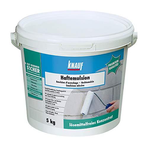 Knauf 4006379018567 Haftemulsion, zum Grundieren von stark saugenden Untergründen vor Putz- und Spachtelarbeiten, Milchig, 5 kg