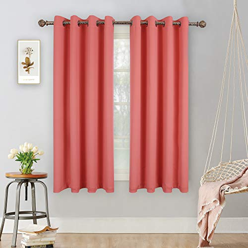 YGO Blackout Room Darkening Solid Curtains Grommet Top Thermal Insulated Curtain Panels for Bedroom Living Room 52 inch W x 63 inch L Set of 2 Panels Coral