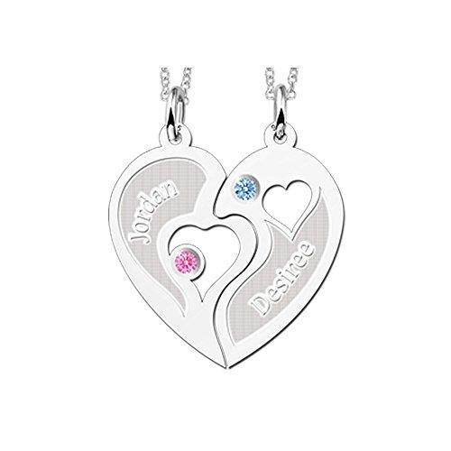 Namesforever Halbes-Herz Partnerkette | Set aus 2 Anhängern Halbes-Herz und 2 Ketten 45 cm | Gratis Gravur | 925er Sterling Silber