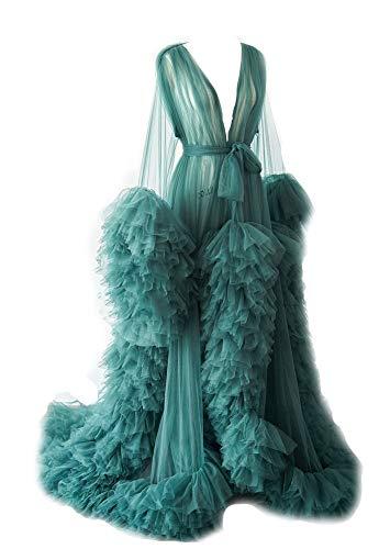 Bata de baño sexy ilusión larga lencería de tul bata de baño bata de dormir ropa de dormir de novia bufanda de boda, Verde azulado, XL