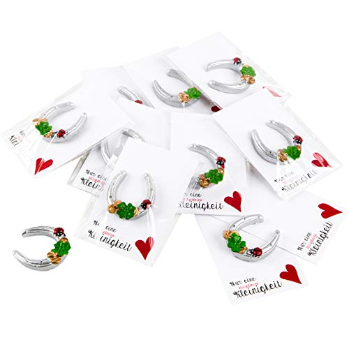 Logbuch-Verlag 10 give-Away Hufeisen Kundengeschenk Mitarbeiter Geschenk Kollegengeschenk Silvester Weihnachten Neujahr Kleeblatt Glückssymbol klein Mini