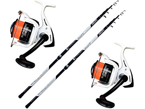 Evo fishing Kit Pesca 2 Canne Surf + 2 Mulinello Supreme CX 8000 5BB