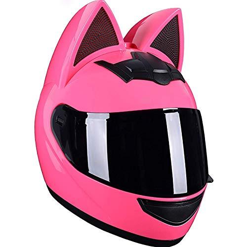 JLLXXG Cascos de Motocicleta con Orejas de Gato de Cara Completa, Viseras abatibles para Adultos, Casco de Motocross, Casco Modular de Choque de Motocicleta, diseño liviano