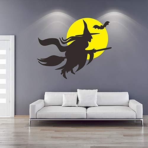 QIEGAO Lustiger Hexenbesen Schwarze Fledermaus Magic Monster Vinyl Wandaufkleber Abziehbilder Schlafzimmer Wohnzimmer Kinderzimmer Hallo-35x43cm