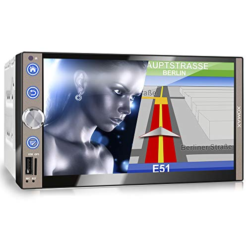 XOMAX XM-2VN767 Autoradio mit Mirrorlink, GPS Navigation, Navi Software, Bluetooth Freisprecheinrichtung, 7 Zoll / 18cm Touchscreen Bildschirm, FM Tuner, SD, USB, 2 DIN