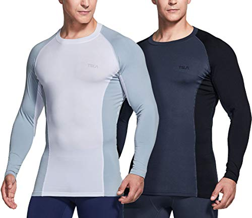 TSLA Men's Thermal Long Sleeve Compression Shirts, Athletic Base Layer Top, Winter Gear Running T-Shirt, Heat Control 2pack Shirts Charcoal/White, Medium