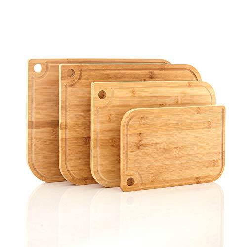 bambuswald© 4x Schneidebretter im Set - 100% Bambus in 4 Größen | Küchenbrett für Käse, Brot, Gemüse o. Fleisch | Brotbox Brottbrett Schneidebrett Schneideunterlage Hackbrett Servierbrett