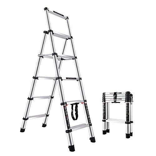 Escalera Extensible Escaleras telescópicas Plegables, Taburete portátil para escaleras Tipo Loft, Edificio de jardín para el hogar, Aleación de Aluminio Ligera, Cojinete 400Kg (Tamaño: 5) Escalera t
