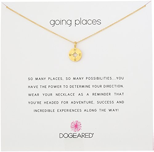 Dogeared 'Going Places' Compass Disc Gold Dipped Chain Necklace, 18'