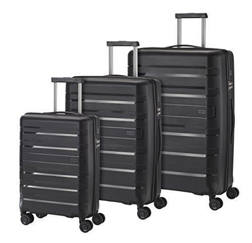 Travelite Kosmos 4 Rollen Hartschalenkoffer-Set, 3 Größen (55 cm / 67 cm / 77 cm), Schwarz