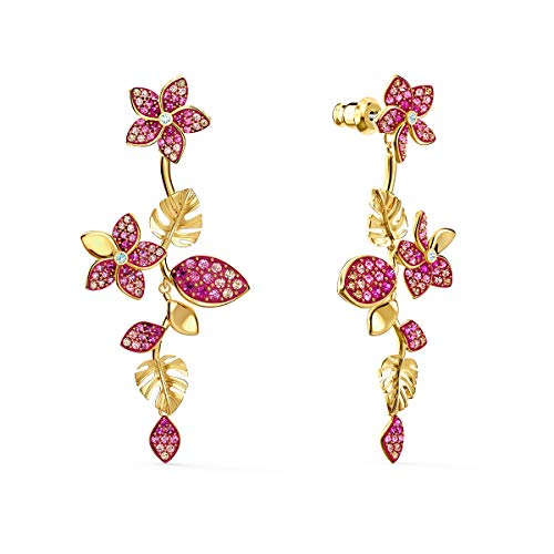 Swarovski Tropical Drop Stud Pierced Earrings with Hanging Floral and Leaf Design and Gradient Pink Crystals on a Gold-Tone Plated Setting