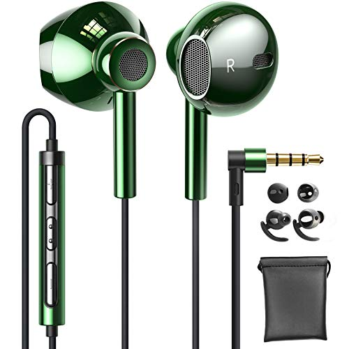 Linklike Quad Treiber Air-Flow Hi-Fi Kopfhörer, 14,2mm Membran 4D Stereo Bass In-Ear Ohrhörer, Lärm Isolieren Leicht Wired Kopfhörer mit In-line HD Mikrofon, Lautstärkeregler, 3.5mm Kopfhörerstecker