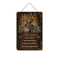 男の洞窟鹿へようこそ木製のリストプラーク木の看板ぶら下げ木製絵画パーソナライズされた広告ヴィンテージウォールサイン装飾ポスターアートサイン