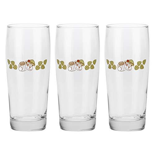 THUN ® - Set 3 Bicchieri - Vetro - Birra bionda - 0,50 cl - h 18 cm - Ø 7 cm