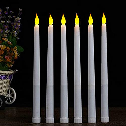 LACGO 11'' Long LED Flameless Tea Light Candle Battery Operated Flickering Ivory Body Taper Candle Center Centerpieces for Home, Restaurant, Wedding, Display Stand Ornaments Decor(Pack of 6)
