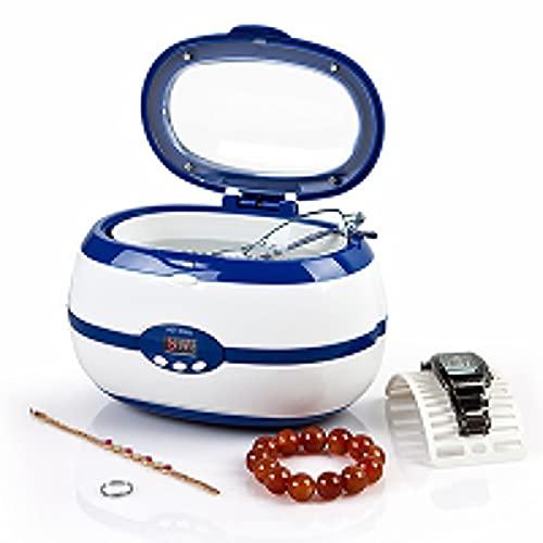 Limpiadores ultrasónicos domésticos pequeños, Cabezas de Afeitar, Gafas, Relojes y Collares limpiadores, limpiadores de joyería Baño ultrasónico con Canasta de Limpieza (Azul)