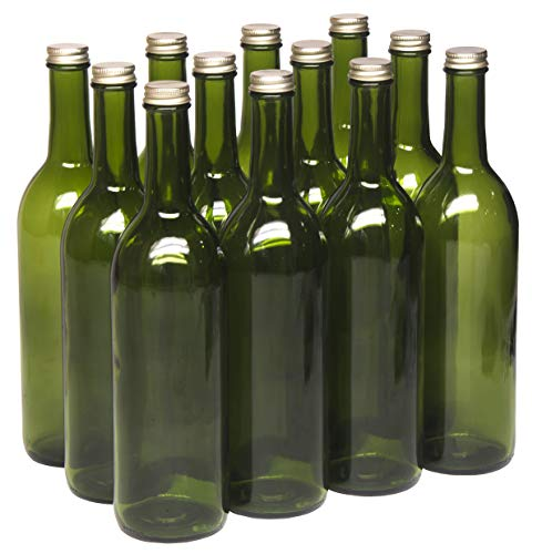North Mountain Supply - W5CTGN-GD 750ml Champagne Green Glass Bordeaux Wine Bottle Flat-Bottomed Screw-Top Finish (Gold Metal Lids)