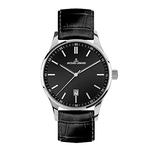 Jacques Lemans Herren-Uhren Analog Quarz One Size Schwarz 32016855